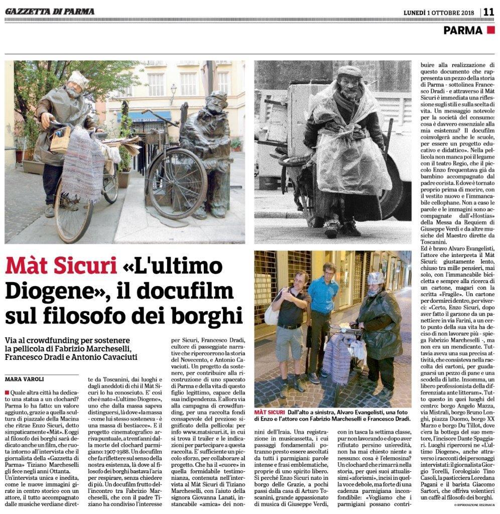 Gazzetta di Parma, lancio docufilm