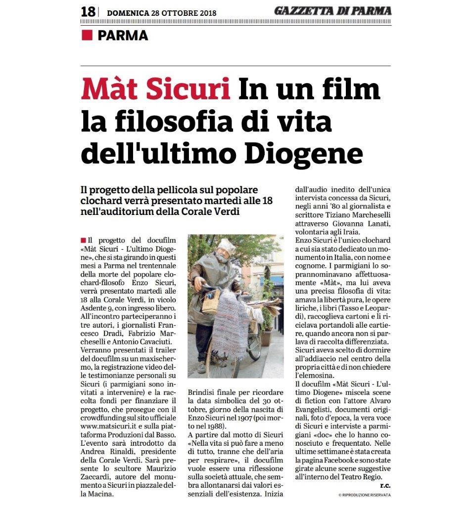 Gazzetta di Parma, annuncio