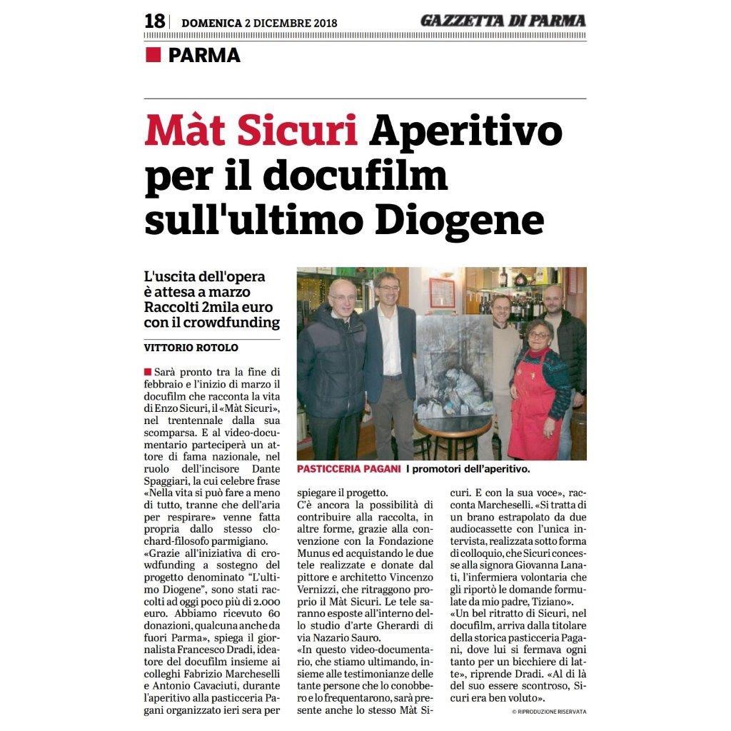 Gazzetta di Parma, novità sul docufilm