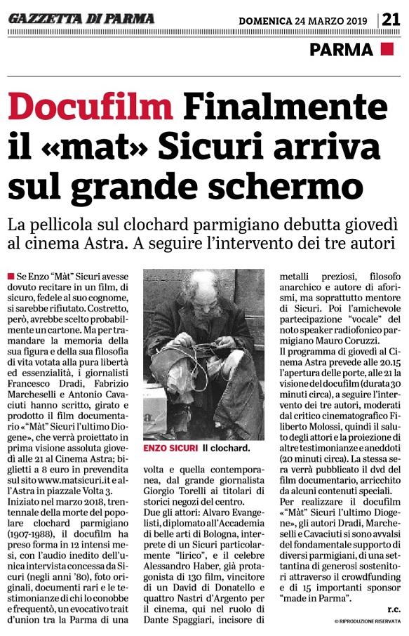 Gazzetta di Parma, prima visione del docufilm