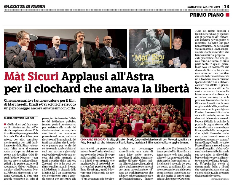 Gazzetta di Parma, sold out la prima del film
