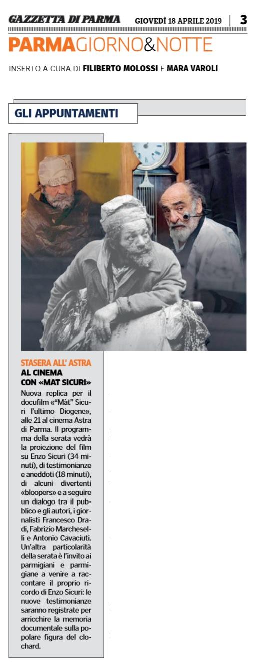 Gazzetta di Parma, nuova replica del docufilm