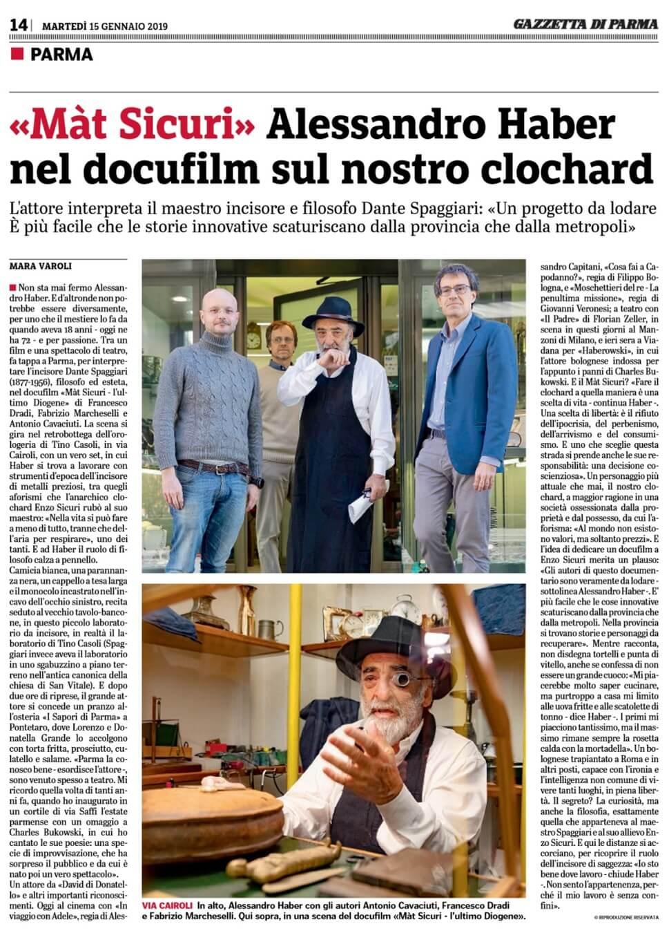 Gazzetta di Parma, l'attore Alessandro Haber è Spaggiari nel docufilm