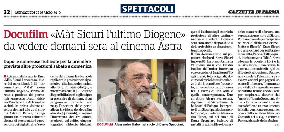 Gazzetta di Parma, tre proiezioni del docufilm