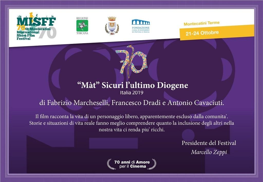 Attestato del MISFF - Montecatini Film Festival con menzione per film