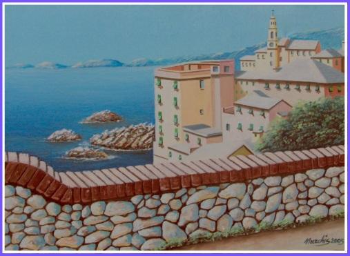 Fausto NURCHIS Scorcio Ligure - olio su tela 50 X 60 Anno 2005