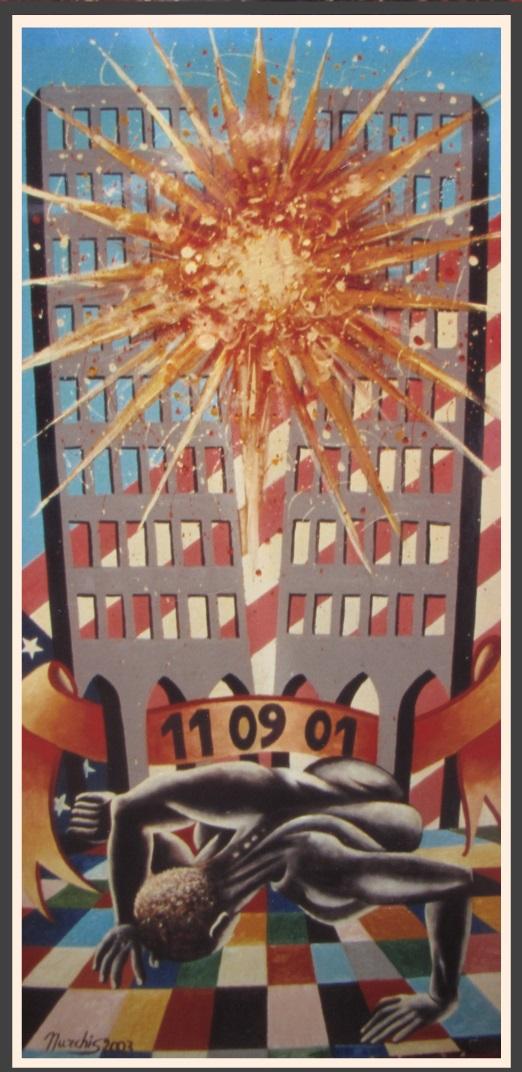 Fausto NURCHIS - Memoria Alle Vittime Delle Torri Gemelle- Acrilico Su Legno 60x120 Anno 2003