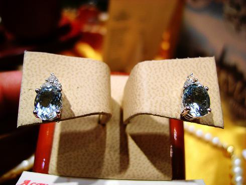 Orecchini con Acquemarina Ovali e Diamanti