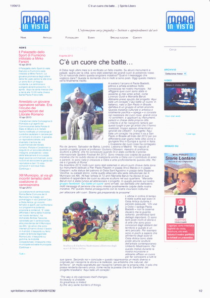articolo di giornale du spiritoliberto.it su :qui batte un cuore