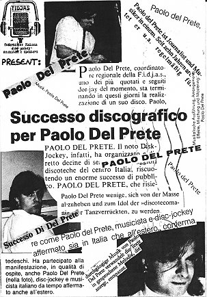 SUCCESSO DISCOGRAFICO PER PAOLO DEL PRETE german press card