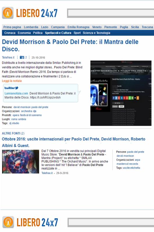 DEVID MORRISON & PAOLO DEL PRETE: IL MANTRA DELLE DISCO. (press /stampa / web/ magazine)