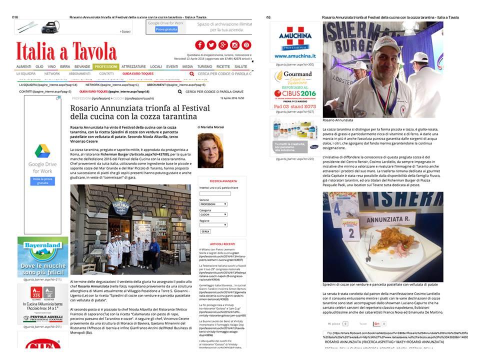 GIORNALE ITLIA IN TAVOLA PRIMO POSTO FESTIVAL DELLA CUCINA